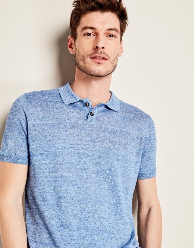 Polo en tricot bleu mélangé