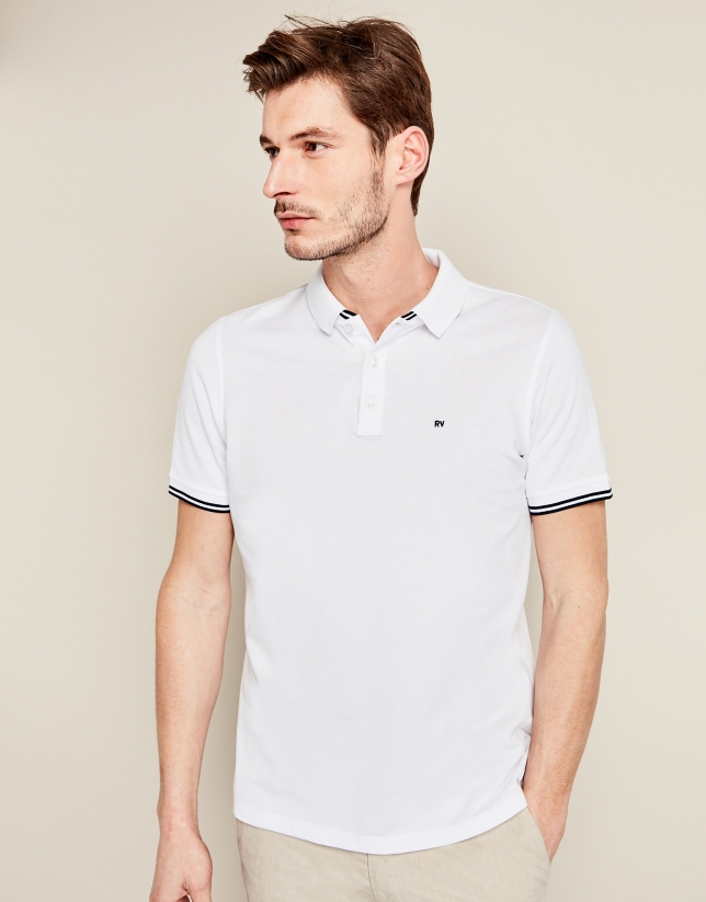 White pique cotton t-shirt