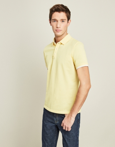 Yellow piqué cotton t-shirt