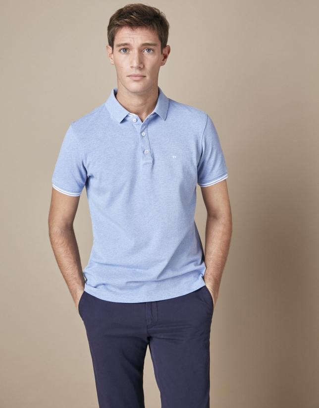 Blue mélange piqué cotton t-shirt
