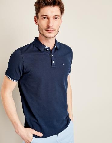 Navy blue piqué cotton t-shirt