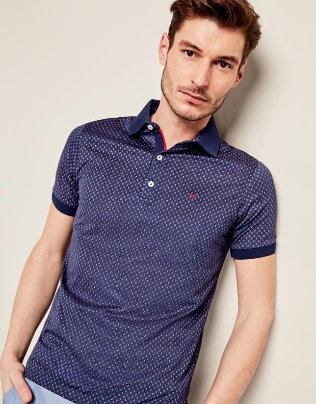 Navy blue t-shirt with cherry print