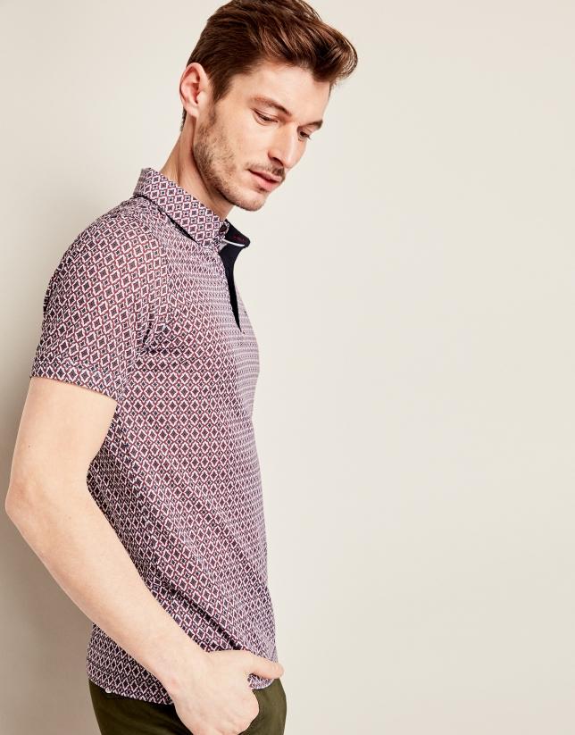 Dark red/navy blue geometric print t-shirt