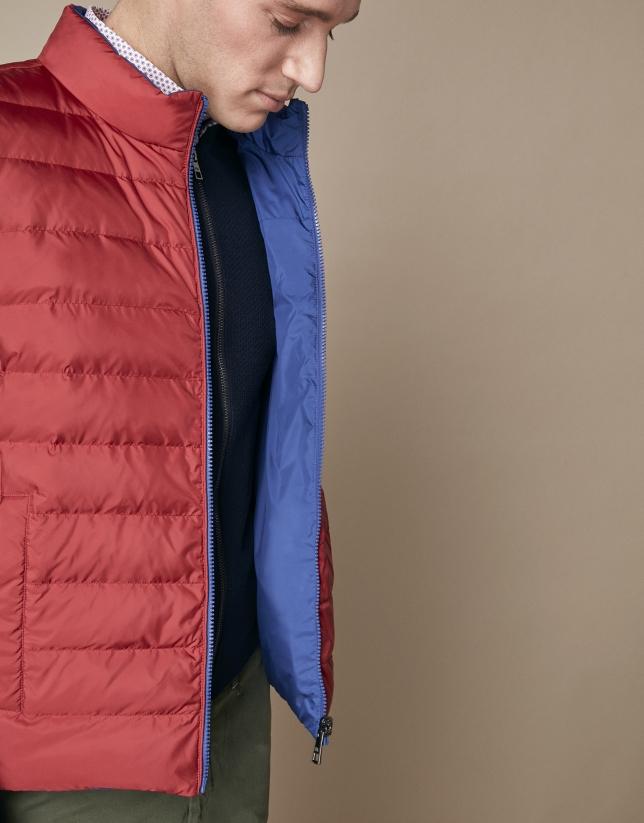 Chaleco reversible acolchado rojo/azulón
