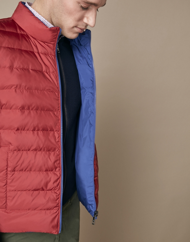 Red/blue quilted reversible vest