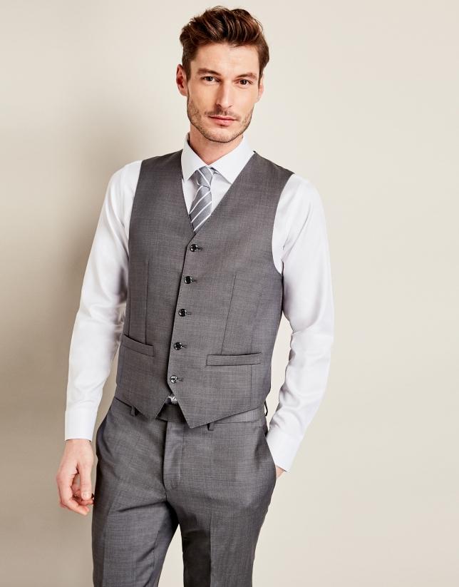 Chaleco de traje microfantasía gris