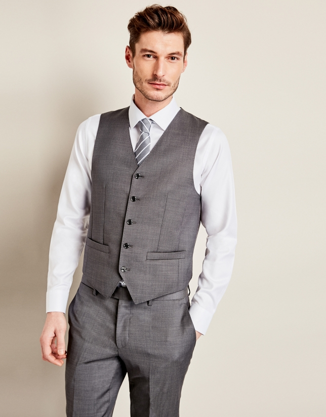 Gray micro-design suit vest