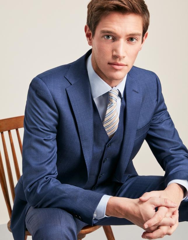Chaleco de traje microfantasía azulón