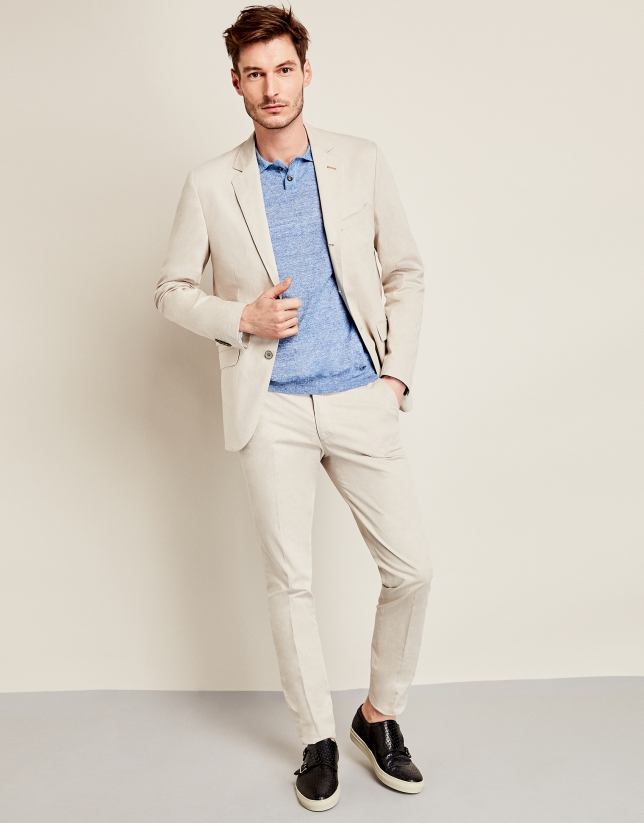 Beige cotton suit jacket