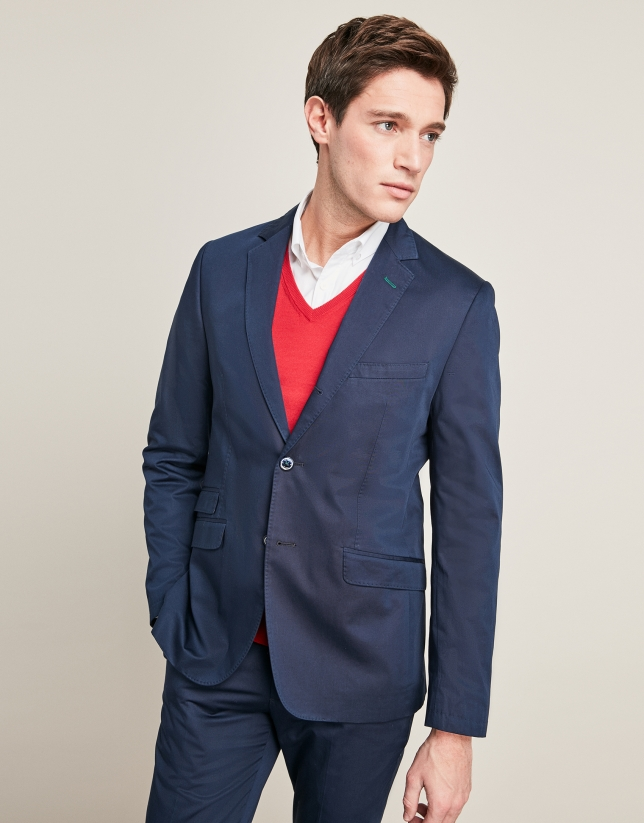 Navy blue cotton suit jacket