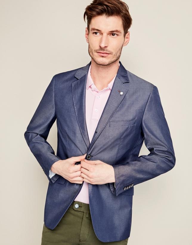 Veste en coton bleu indigo