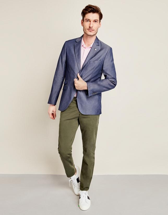 Indigo cotton suit jacket