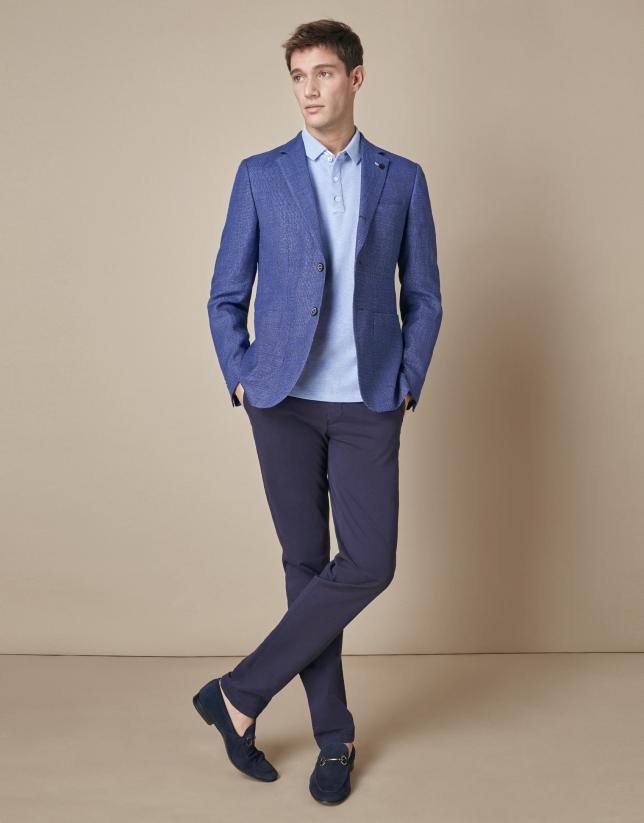 Americana lino/algodón tonos azules