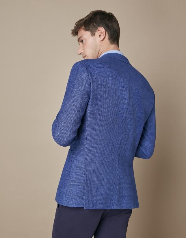 Blue linen/cotton suit jacket