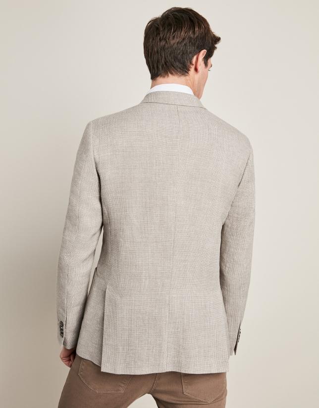 Beige linen/cotton suit jacket