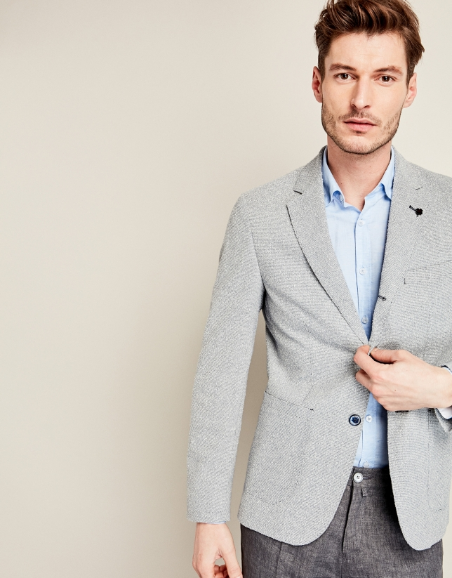 Navy blue structured cotton suit jacket