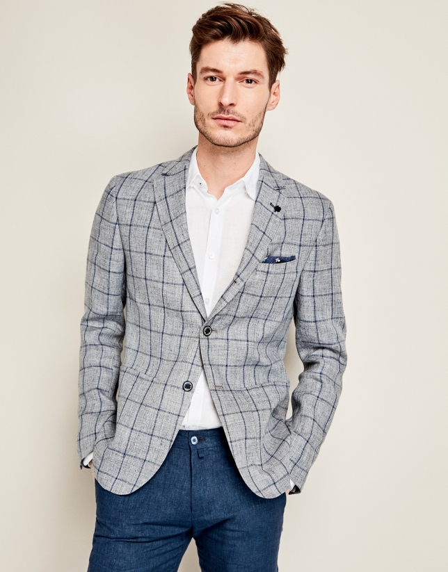 Navy blue and gray checkered linen suit jacket roberto for Navy suit checkered shirt