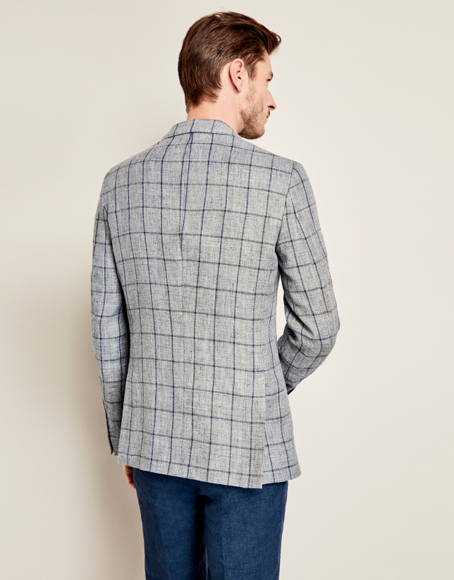 Navy blue and gray checkered linen suit jacket