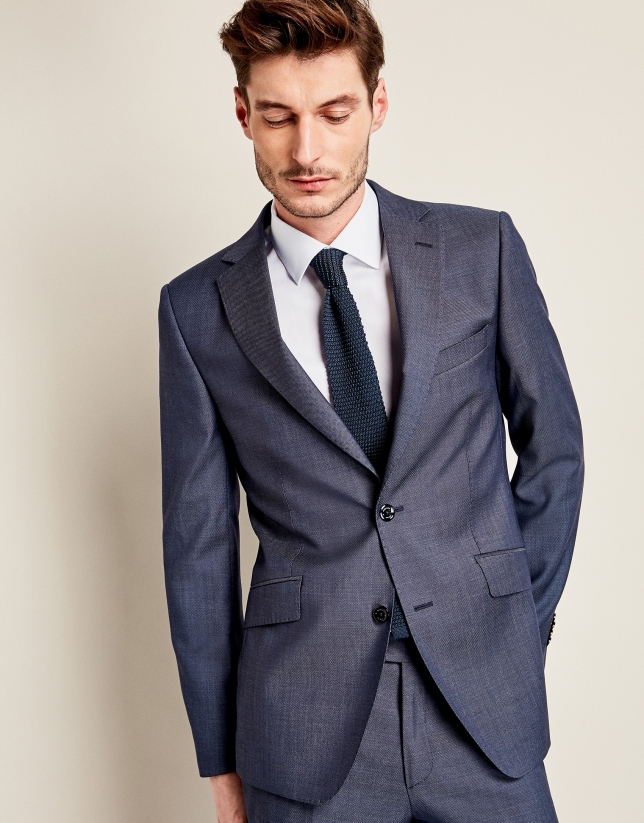 Blue wool micro-print suit