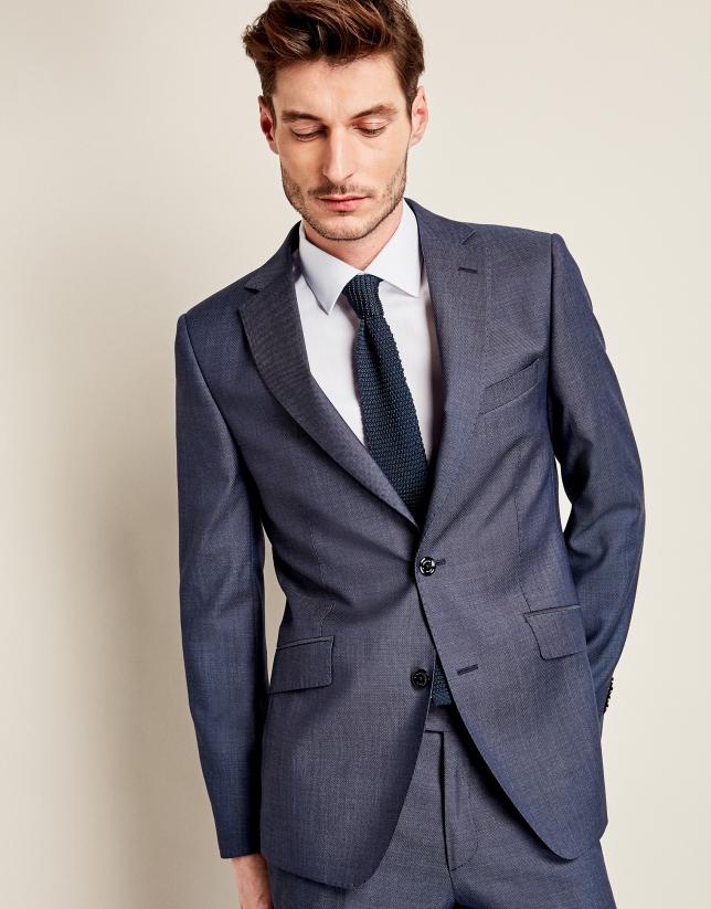 Costume à micro motif en laine bleu