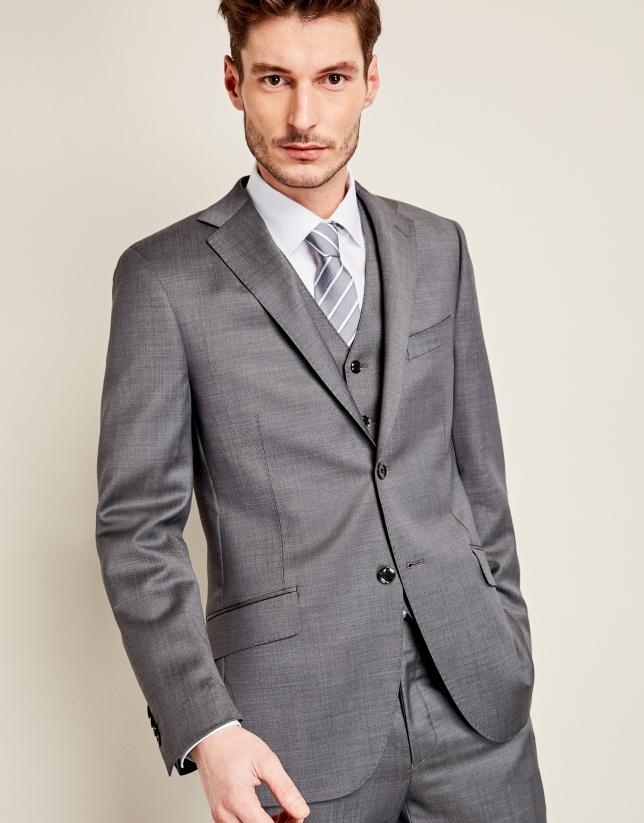 Traje falso liso lana gris