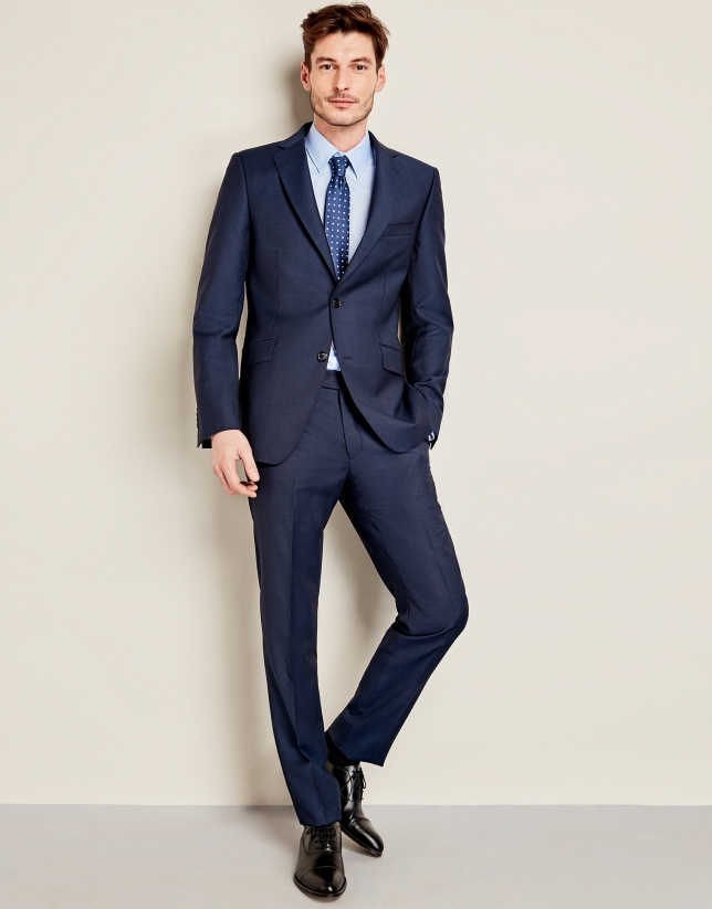 Dark blue micro-print wool suit