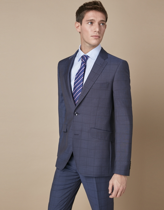 Blue checkered wool suit