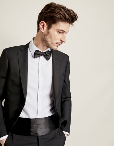 Plain black wool suit