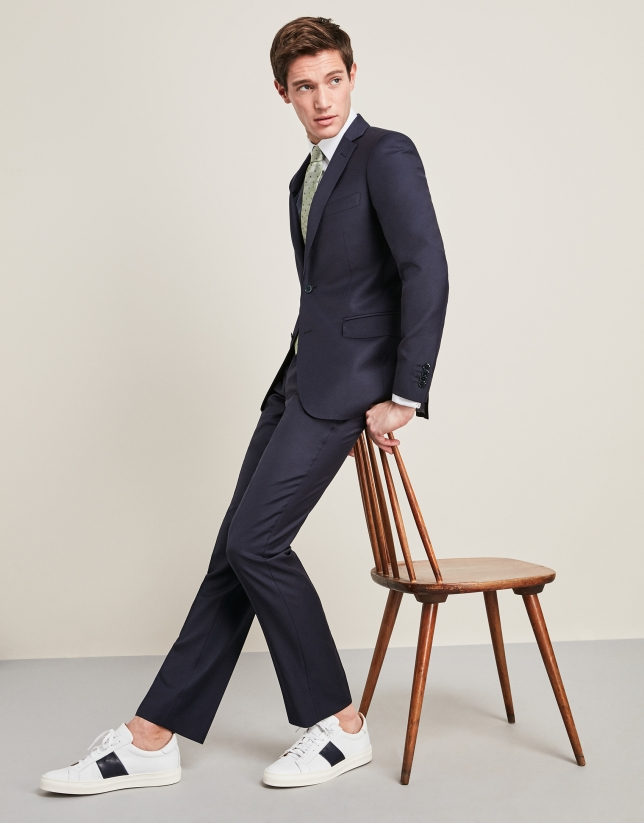 Plain navy blue wool suit