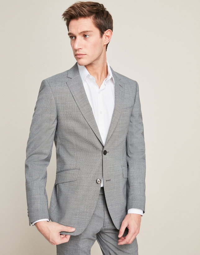 Gray micro-print wool suit