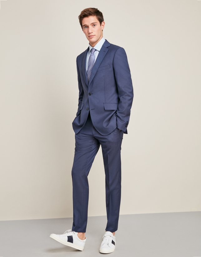 Dark  blue silk, half-canvas wool suit