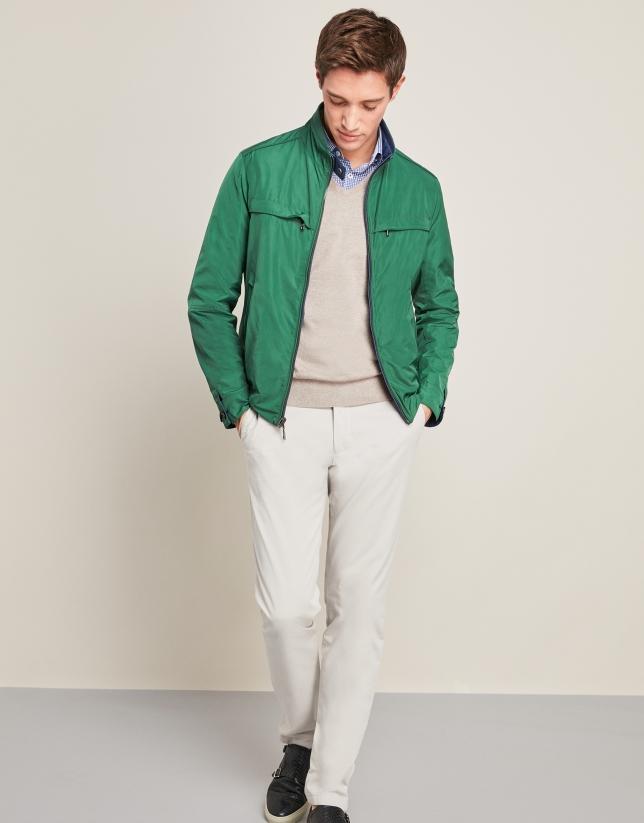 Navy blue/green reversible bomber jacket