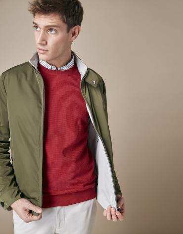Khaki/stone reversible bomber jacket