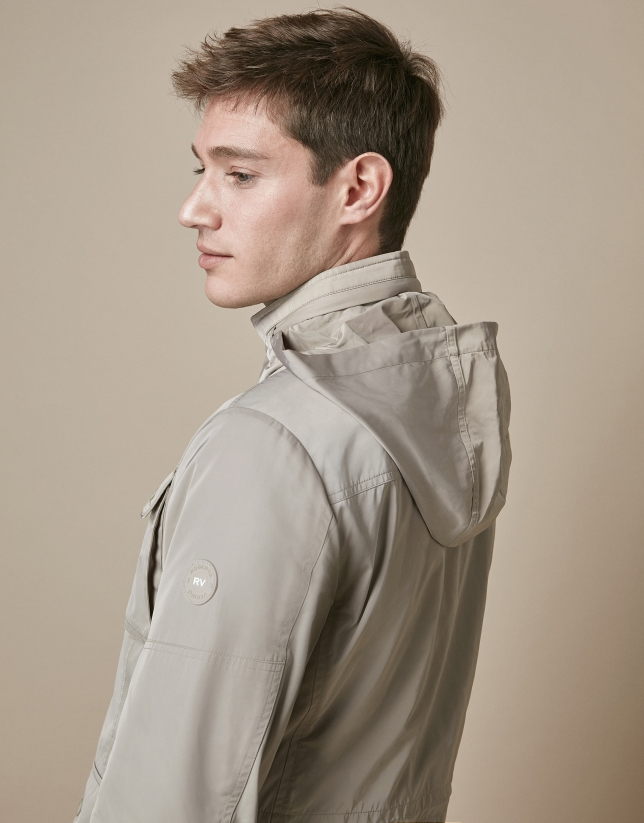 Taupe parka with four pockets