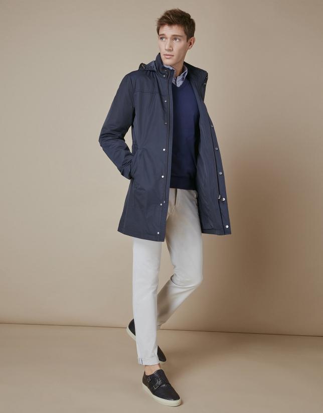 Navy blue short raincoat