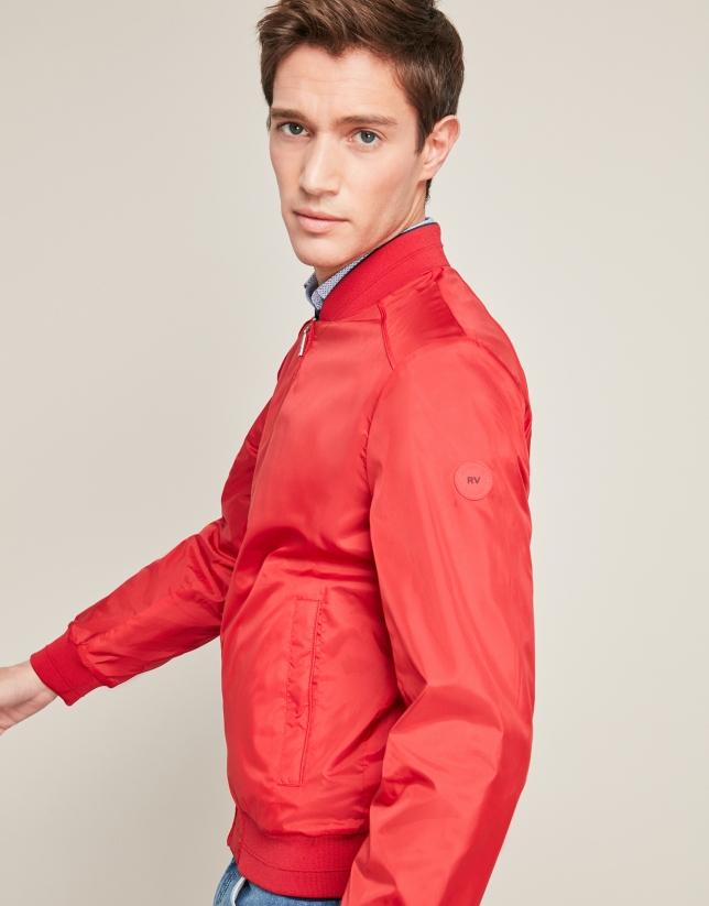 Blue/red reversible bomber jacket