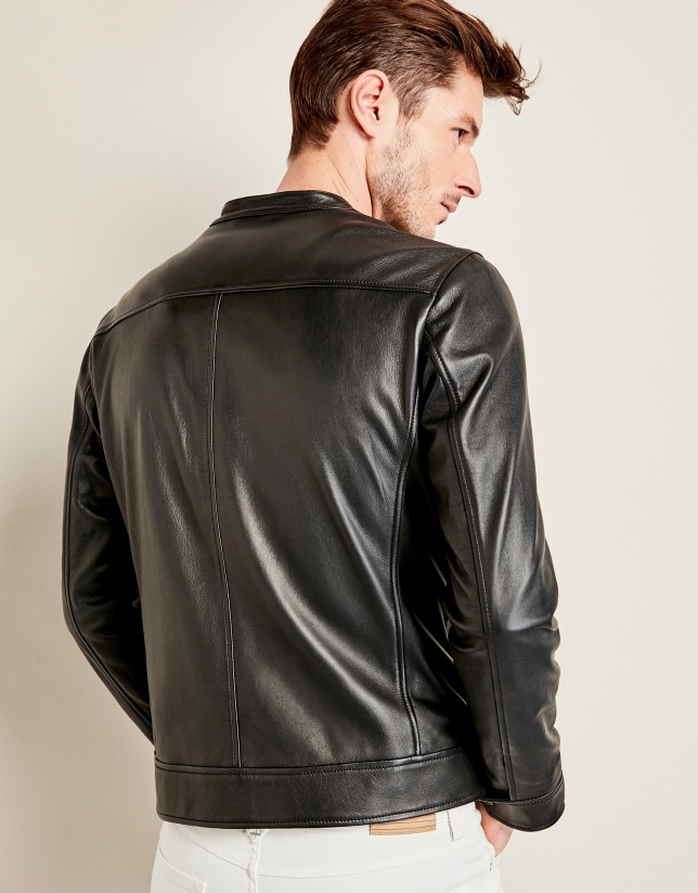 Black leather windbreaker with short collar