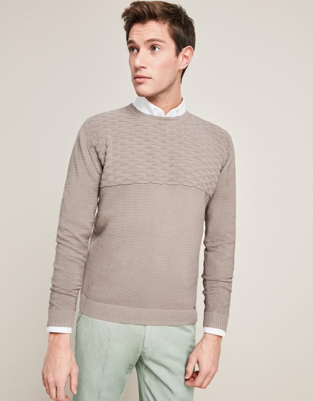 Pull en coton structuré horizontal, couleur taupe