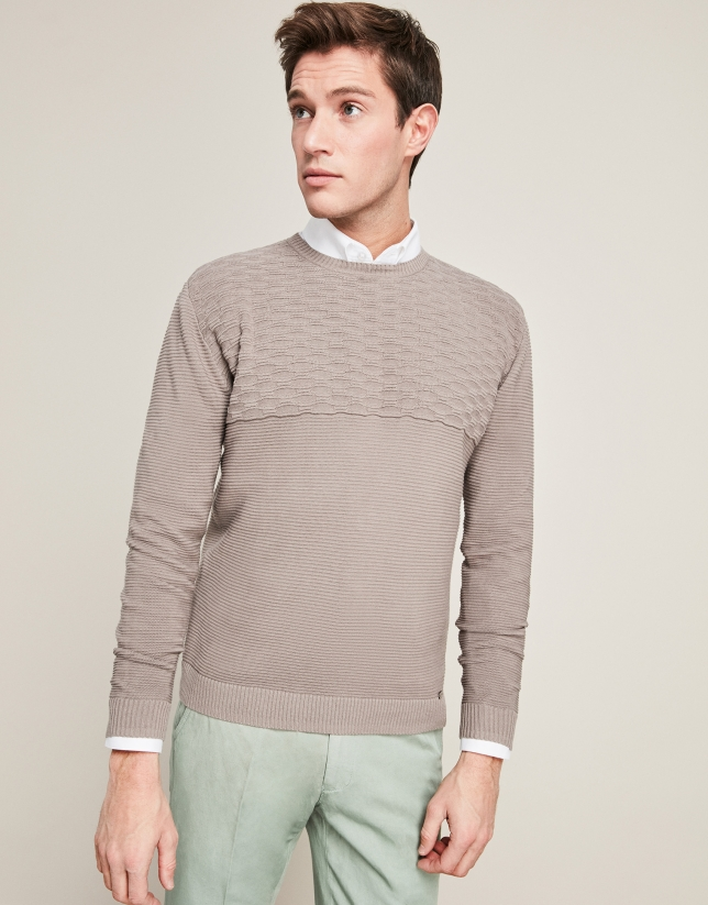 Taupe horizonal structured cotton sweater