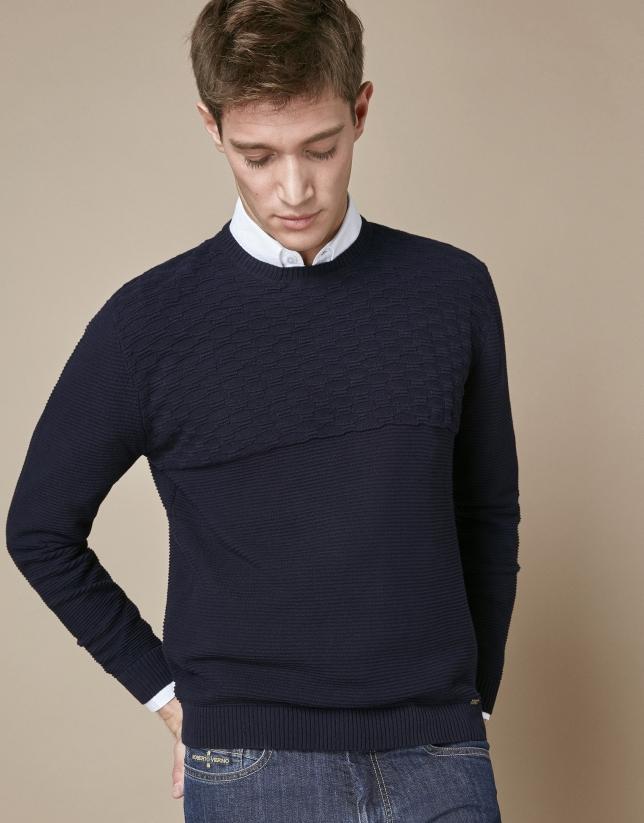 Jersey algodón estructura horizontal marino