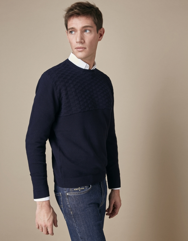 Navy blue horizontal structured cotton sweater