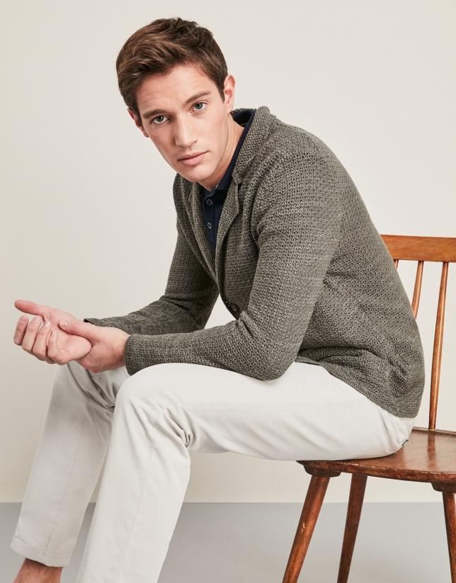Chaqueta tricot algodón/lino caqui