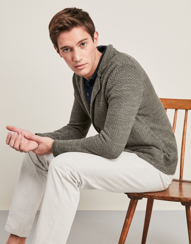 Khaki linen/cotton tricot jacket