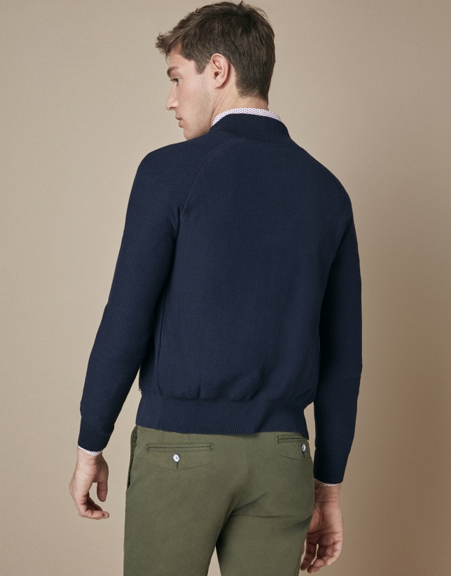 Bomber en tricot bleu marine