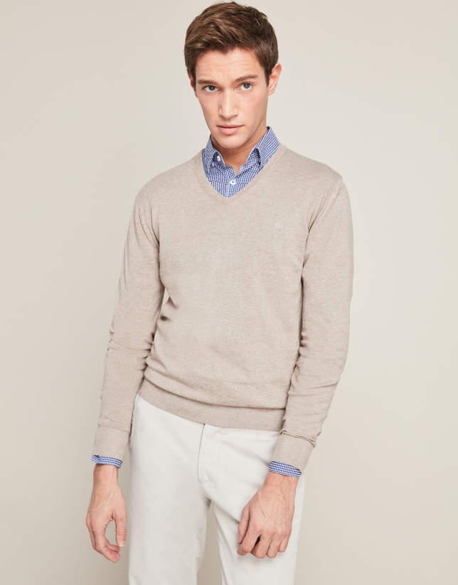 Light taupe sweater with V-neck