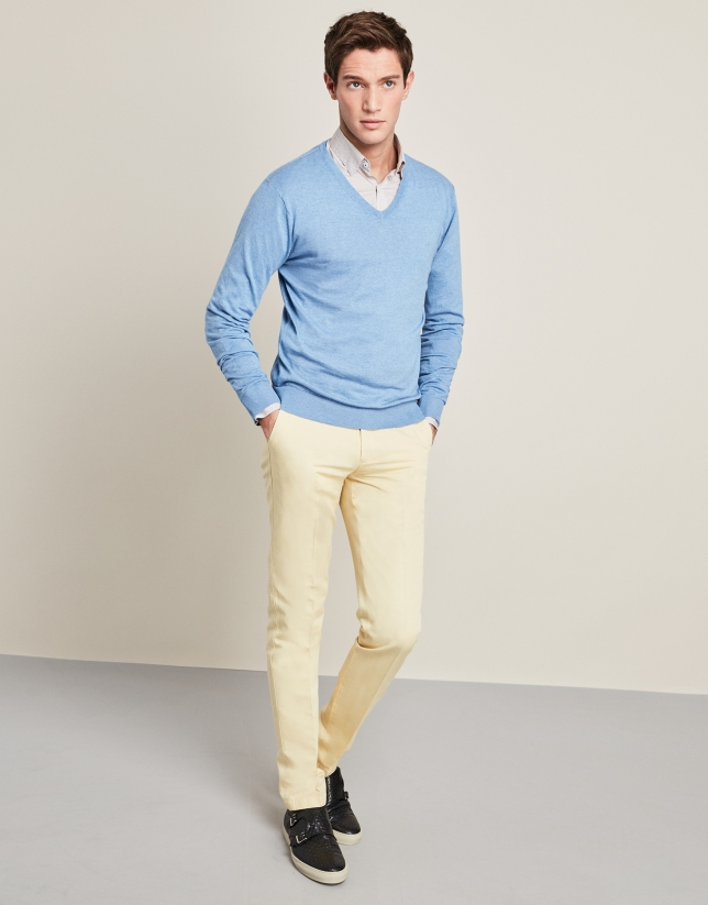 Light blue sweater with V-neck