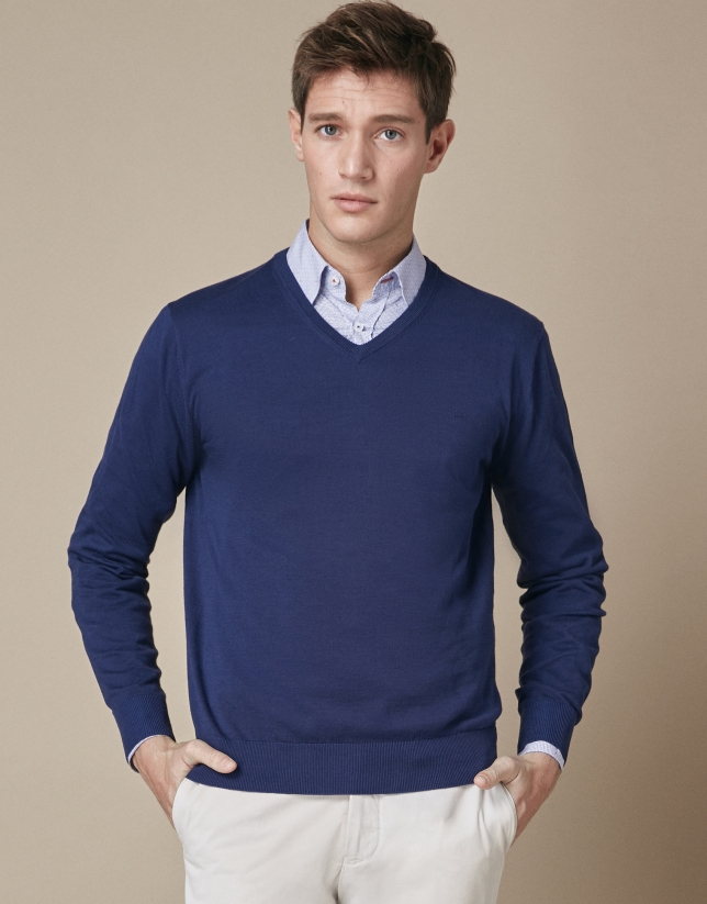 Navy blue sweater with V-neck