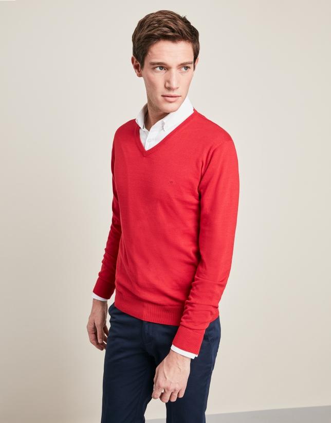 2b346f63a37bc Jersey cuello pico rojo - Hombre - PV2018