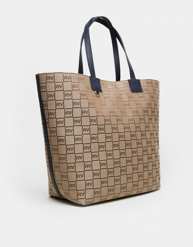 Uve RV canvas shopping bag with blue leather