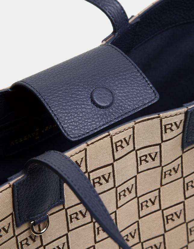 Cabas Uve en toile RV et cuir bleu